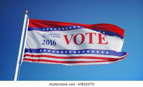 Vote 2016 Presidential Elections USA flag waving against clean sky, close up, isolated on alpha, composition