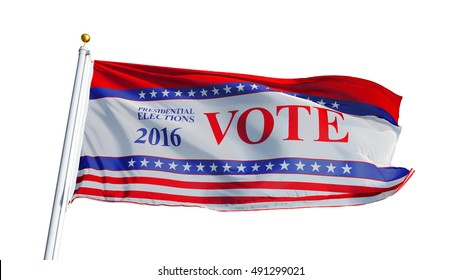 Vote 2016 Presidential Elections USA flag waving on white background, close up, isolated on alpha, composition