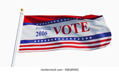 Vote 2016 Presidential Elections USA flag waving against clean sky, close up, isolated with clipping path mask alpha channel transparency