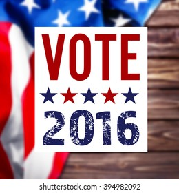 Vote 2016 sign on USA flag background