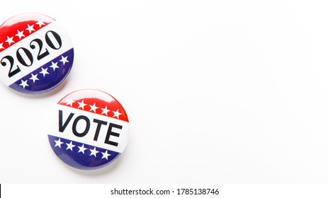 Vote 2020, American elections. Patriotic button pins isolated on white background, panorama, copy space