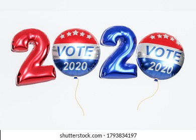 Vote 2020 United States of America Presidential . Red, white, and blue voting design ballon in 2020 with Your Vote Counts text. 3d render. Isolated on white background.