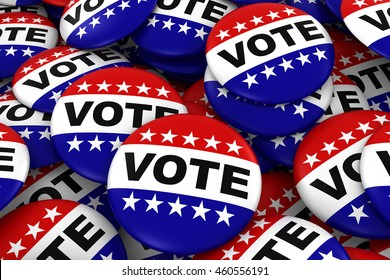 Vote Badges Background - Pile of Red White and Blue Political Campaign Buttons 3D Illustration