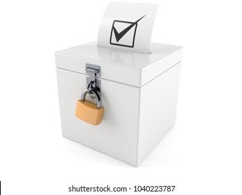 Vote box isolated on white background. 3d illustration