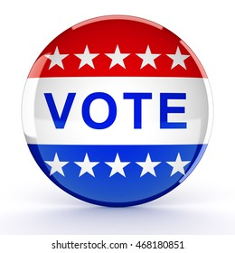 Vote button in red, white, and blue with stars - 3d rendering