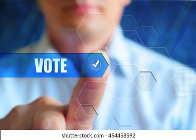 Vote concept illustration. Person touch text button Vote with check box. Election, voting, choice concept.
