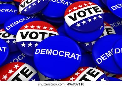 Vote Democrat Concept - Campaign Buttons in Pile 3D Illustration