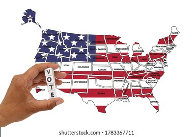 Vote Dice in front of USA Map on white background