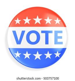 Vote election campaign badge button, 3d rendering. Isolated on white background with clipping path.