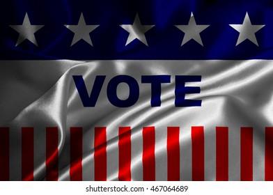 Vote flag blue and white stars background.
