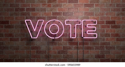 VOTE - fluorescent Neon tube Sign on brickwork - Front view - 3D rendered royalty free stock picture. Can be used for online banner ads and direct mailers.