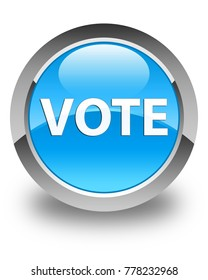 Vote isolated on glossy cyan blue round button abstract illustration