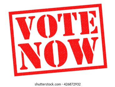 VOTE NOW red Rubber Stamp over a white background.