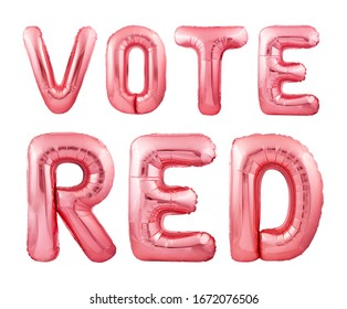 Vote red republican election campaign concept made of red inflatable balloons isolated on white background. Presidential elections concept