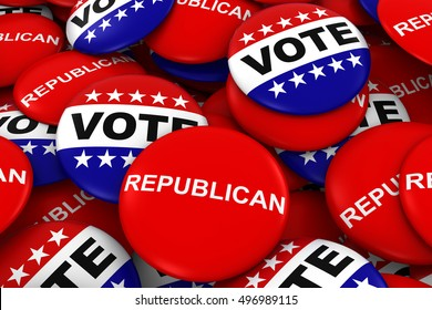 Vote Republican Concept - Campaign Buttons in Pile 3D Illustration