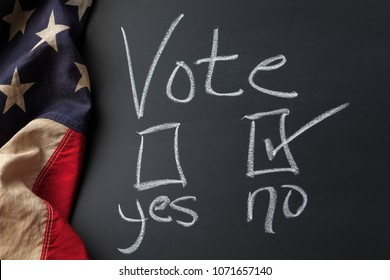 Vote Sign with No checkbox selected handwritten on a chalkboard bordered by a vintage American flag