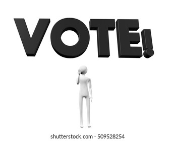 Vote! text 3d illustration in black, above somebody's head,as a concept of metaphor for people's activism, power and choice, isolated on white background.