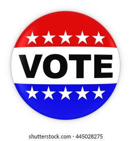Vote United States Elections Red White and Blue Button 3D Illustration