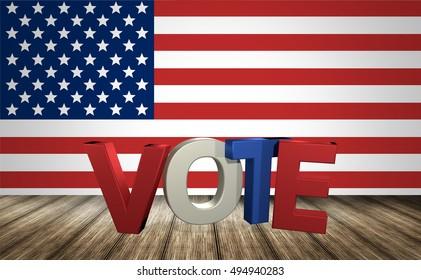 Vote USA 3d render background