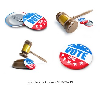 vote usa election badge button for 2016 background.. 3d Illustrations on a white background