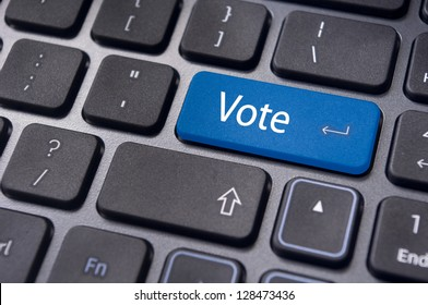 vote or voting concepts, through computer or internet, with a message on enter key of keyboard.