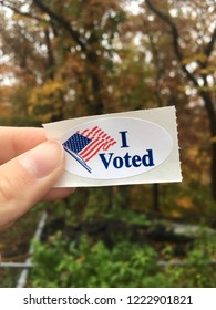 I Voted Sticker with Autumn Background