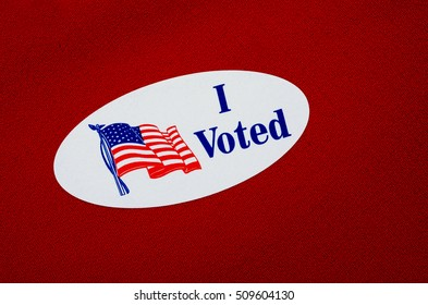 "I ""Voted Sticker"" On Red or Republican Colors"