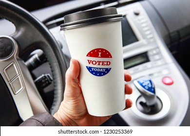 I voted today sticker on a hot drink cup free giveaway from a coffee shop