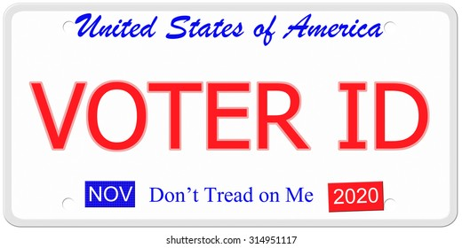 Voter ID imitation United States license plate with don't tread on me written on it.