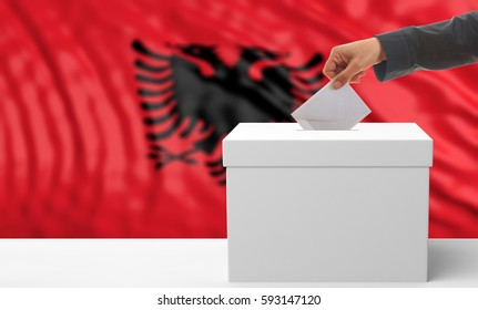 Voter on an waiving Albanian flag background. 3d illustration