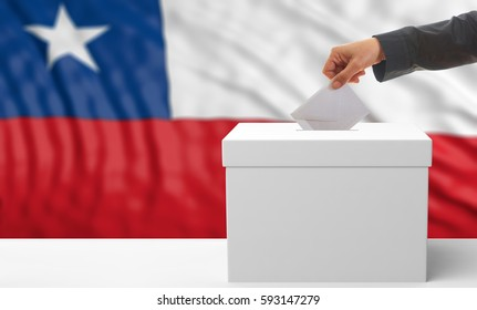 Voter on an waiving Chile flag background. 3d illustration