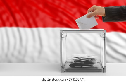 Voter on an waiving Indonesia flag background. 3d illustration