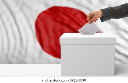 Voter on an waiving Japan flag background. 3d illustration