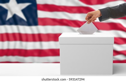 Voter on an waiving Liberia flag background. 3d illustration