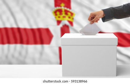 Voter on an waiving Northern Ireland flag background. 3d illustration