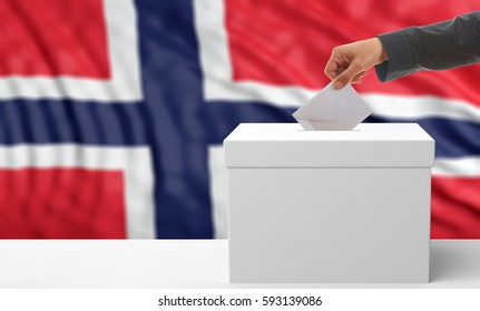 Voter on an waiving Norway flag background. 3d illustration