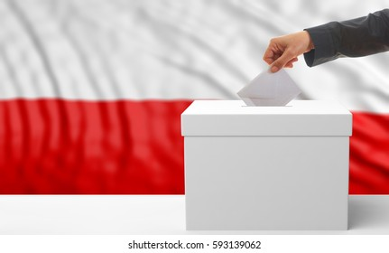 Voter on an waiving Poland flag background. 3d illustration