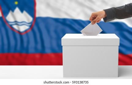 Voter on an waiving Slovenia flag background. 3d illustration