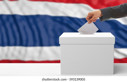 Voter on an waiving Thailand flag background. 3d illustration