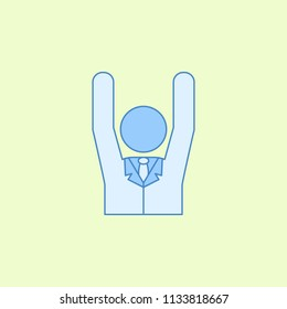 voter with a raised hand field outline icon. Element of elections icon for mobile concept and web apps. Field outline voter with a raised hand icon can be used for web and mobile on colored background