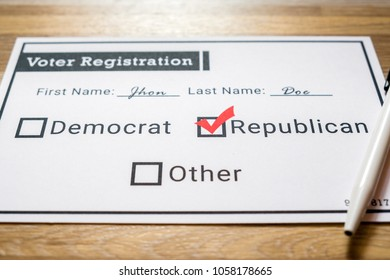 Voter registration card with Republican party selected - Close Up. A close up photo of a faux voter registration form signifying that a person is joining the Republican party.