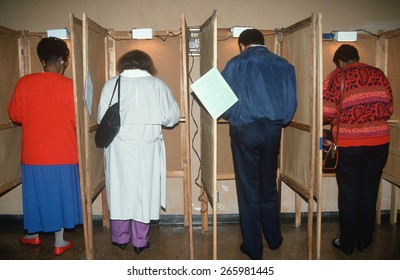 Voters casting their ballots on election day, Los Angeles, CA