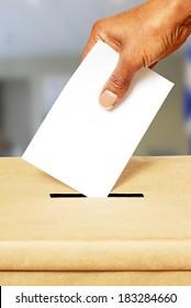 Voting in ballot box