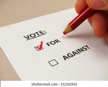 Voting ballot with 'for' box checked