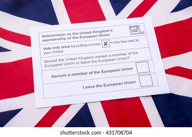 Voting ballot for the referendum on the United Kingdom's membership of the European Union leave or remain on a Union Jack British flag background