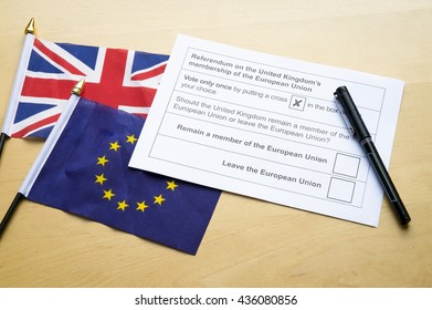 Voting ballot for the referendum on the United Kingdom's membership of the European Union leave or remain campaign with flags