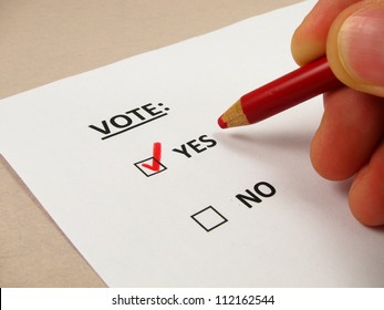 Voting ballot with 'yes' box checked