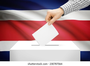 Voting concept - Ballot box with national flag on background - Costa Rica