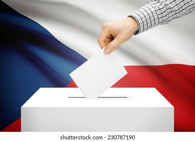 Voting concept - Ballot box with national flag on background - Czech Republic
