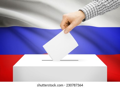 Voting concept - Ballot box with national flag on background - Russia